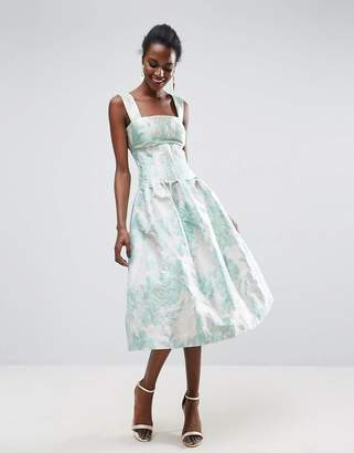Bardot Asos Design ASOS Bodice Seamed Prom Midi Dress