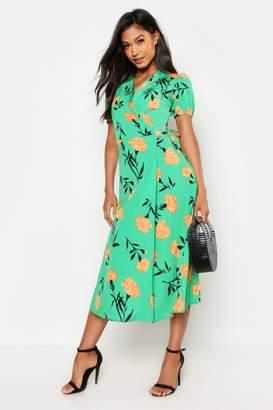 boohoo Green Floral Print Tie Wrap Midi Skater Dress