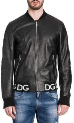 Dolce & Gabbana Logo Band Leather Bomber Jacket