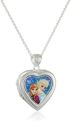 Disney Girls' Plated Frozen Elsa and Anna Heart Locket Necklace