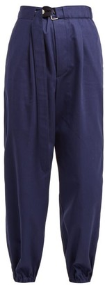 Golden Goose Lucy High Waist Cotton Trousers - Womens - Dark Blue