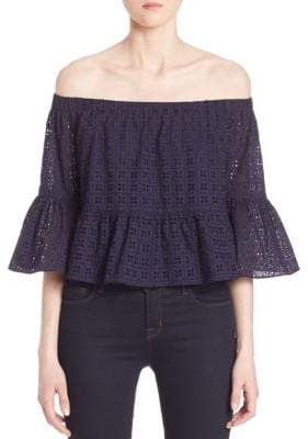 LIKELY Stockton Off-The-Shoulder Bell-Sleeve Top