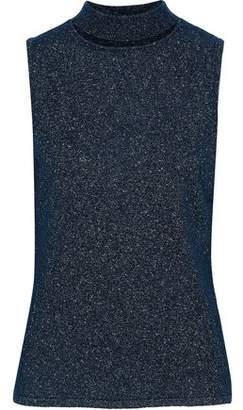 Elie Tahari Cloura Metallic Cutout Knitted Top