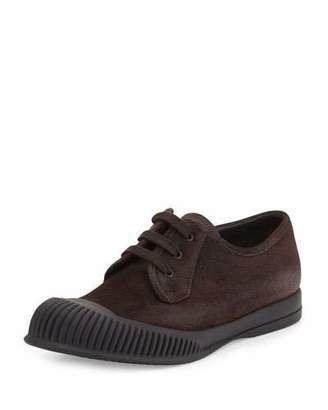 Prada Mud-Guard Suede Low-Top Sneaker, Brown $750 thestylecure.com