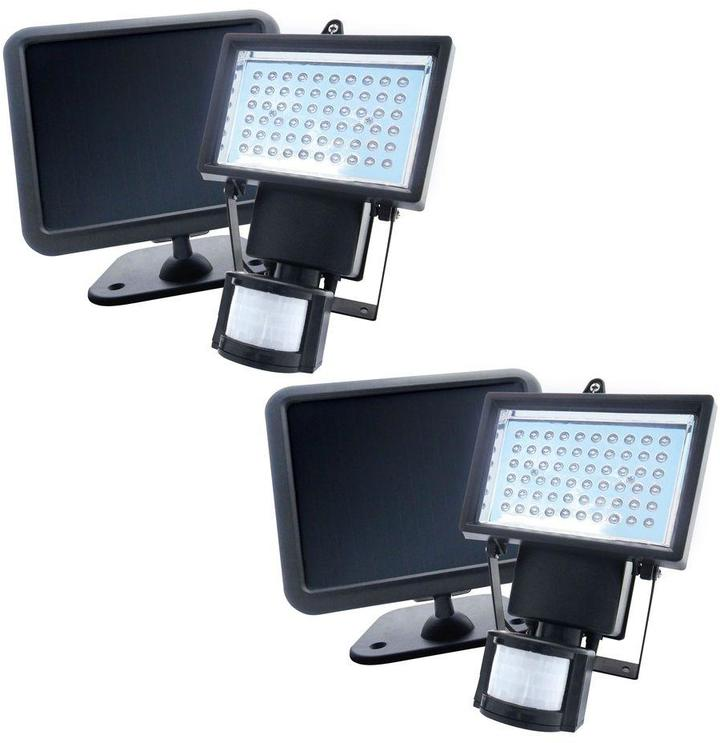 Nature Power Black Solar Powered Motion Activated Outdoor 60-LED Security Light (2-Pack)