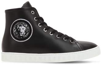 Versus Lion Head Leather High Top Sneakers