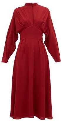 Emilia Wickstead Autumn Pleated High Neck Crepe Midi Dress - Womens - Burgundy