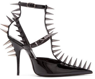 Knife Spiked Patent-leather Pumps - Black
