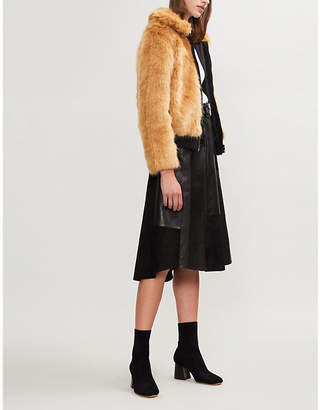 Maje Brox cropped faux-fur jacket