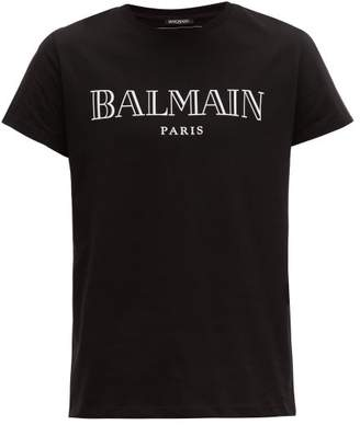 Balmain Logo Print Cotton T Shirt - Mens - Black