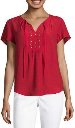 Liz Claiborne Womens Split Crew Neck Short Sleeve Woven Embellished Blouse