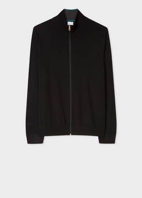 Paul Smith Men's Black Merino-Wool Zip-Through Cardigan