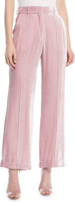 Racil Charlie High-Waist Cuffed Straight-Leg Shiny Velvet Pants