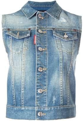 DSQUARED2 microstudded sleeveless denim jacket
