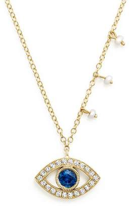 Meira T 14K Yellow Gold Blue Sapphire and Diamond Evil Eye Necklace, 16""