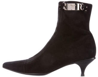 pradaPrada Suede Square-Toe Ankle Boots