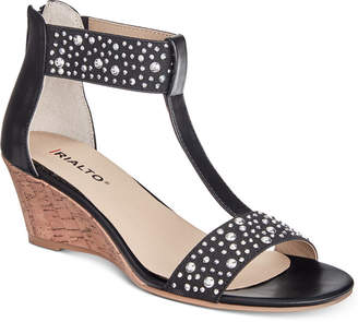 Rialto Cleo Embellished Wedge Sandals Women's Shoes