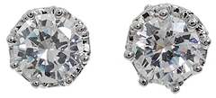 Juicy Couture - Princess CZ Stud Earrings (Silver) - Jewelry