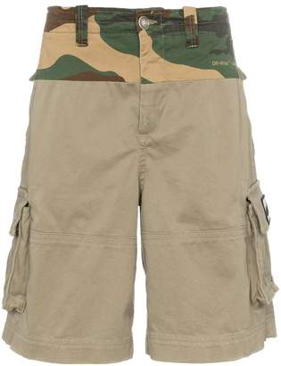Off-White spliced camouflage print cargo cotton shorts