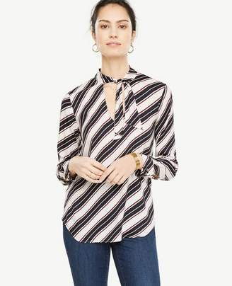 Ann Taylor Striped Tie Neck Blouse