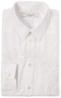 Givenchy White Floral Embroidered Dress Shirt