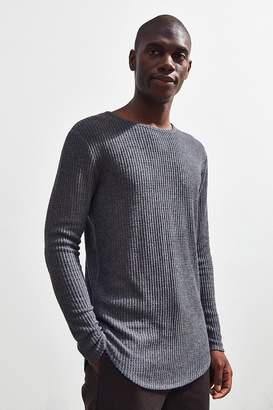 Urban Outfitters Waffle Thermal Curved Hem Long Sleeve Tee