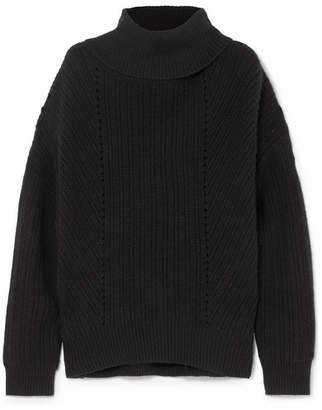 Nili Lotan Keiran Ribbed Cashmere Turtleneck Sweater - Black