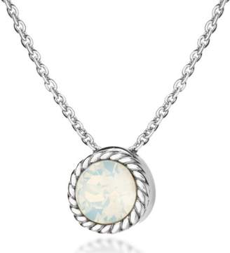 Tuscany Silver Sterling Silver and Opal October Birthstone Necklace of 46cm/18""