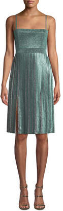 Misha Collection Janelle Double-Slit Metallic Dress