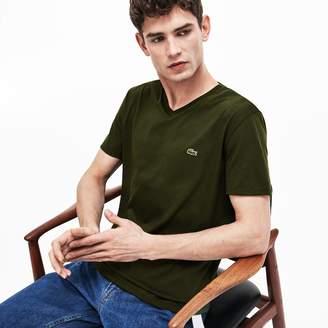 87dcaf9080 Lacoste Men s V-neck Pima Cotton Jersey T-shirt