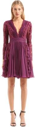 Murad Zuhair Plisse Chiffon & Chantilly Lace Dress