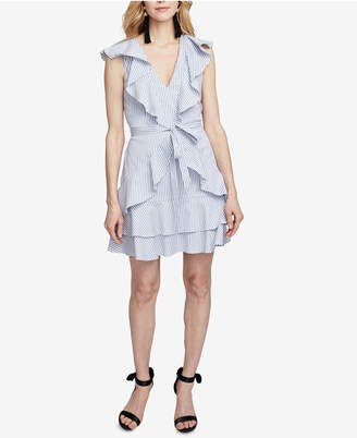 Rachel Roy Striped Ruffled Fit & Flare Dress