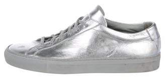 Common Projects Woman by Metallic Leather Low-Top Sneakers