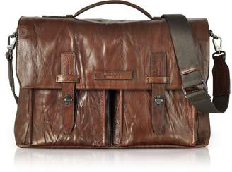 The Bridge Washed Calf Leather Briefcase w/Shoulder Strap