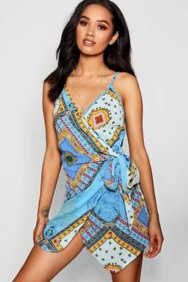boohoo Petite Nina Scarf Print Woven Tie Waist Wrap Dress
