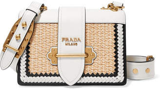 Prada Cahier Whipstitched Leather And Raffia Shoulder Bag - White