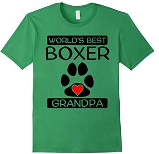 Men's World's Best Boxer Grandpa Dog Paw Print Heart T-Shirt
