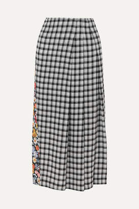 McQ Decon Paneled Floral-print Crepe And Checked Flannel Midi Skirt - Black
