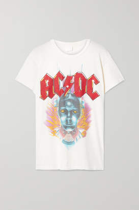 MadeWorn Acdc Distressed Printed Cotton-jersey T-shirt - White