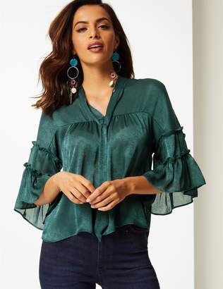 Marks and Spencer Jacquard V-Neck 3/4 Sleeve Blouse
