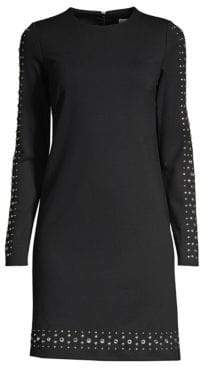 MICHAEL Michael Kors Embellished Solid Ponte Shift Dress