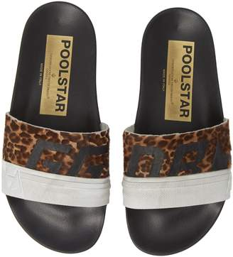 Golden Goose Leopard Poolstar Genuine Calf Hair Sport Slide