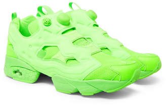 Vetements + Reebok Instapump Fury Neon Slip-On Sneakers
