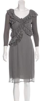 Burberry Silk Ruffle-Accented Knee-Length Dress w/ Tags Grey Silk Ruffle-Accented Knee-Length Dress w/ Tags
