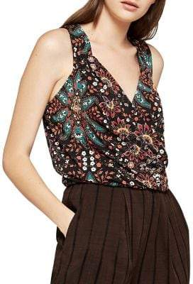 BCBGeneration Sleeveless Bohemian Bandana Surplice Top