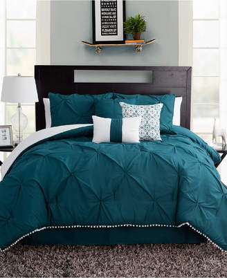 Sanders Pom Pom Seven Piece King Size Comforter Set Bedding