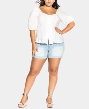 City Chic Trendy Plus Size Cotton Bubble-Sleeve Top