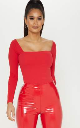 PrettyLittleThing Red Square Neck Long Sleeve Thong Bodysuit