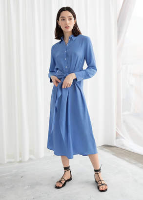 And other stories Long Sleeve Waist Tie Midi Dress