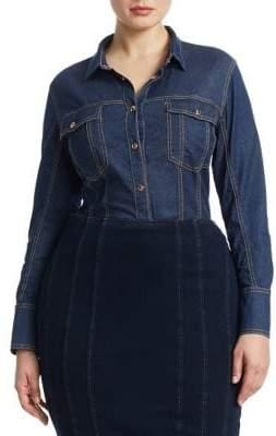 Marina Rinaldi Ashley Graham x Falda Stretch Denim Shirt